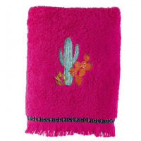 Serviette de toilette coton brodée cactus Latina hibiscus