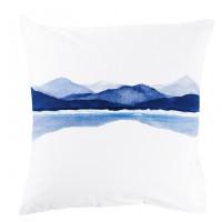 Taie d'oreiller carrée percale de coton imprimée paysage de montagne Le lac