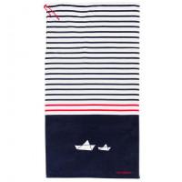 Serviette de plage et sac enfant velours de coton imprimée Marin