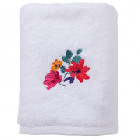 Serviette de toilette coton brodée fleurs Ode blanc