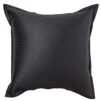 Taie d'oreiller carrée satin de coton jacquard pois et rayures Prestige noir