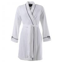 Peignoir femme bouclette de coton kimono brodé Promesse blanc