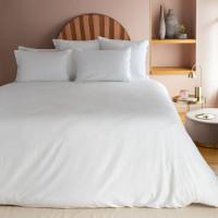 Parure de lit en satin de coton lavé bio Quartz Blanc