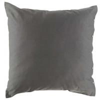 Taie d'oreiller carrée satin de coton lavé bio Quartz galet
