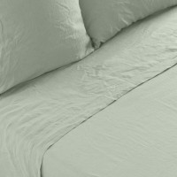 Drap de lit lin lavé uni Songe eucalyptus