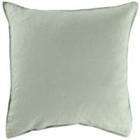 Taie d'oreiller carrée lin coton lavé Songe Eucalyptus