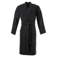 Peignoir homme bouclette de coton moelleux kimono uni Yokosuka noir