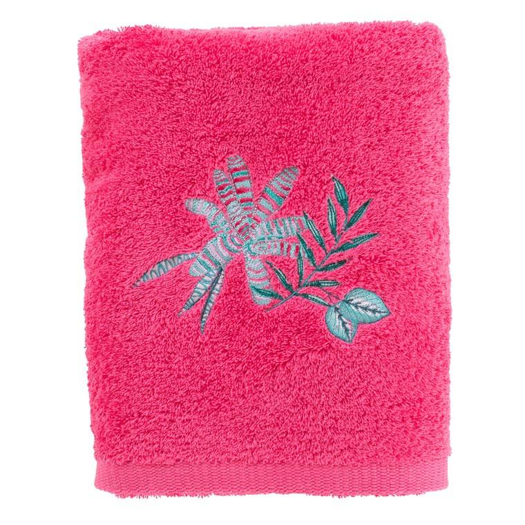 Drap de bain coton brodé végétal Aloe framboise