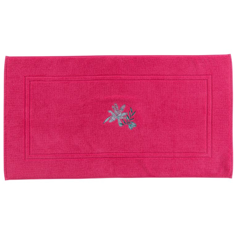 Tapis de bain coton brodé végétal Aloe framboise
