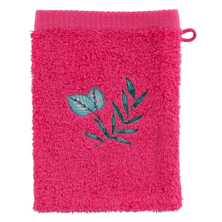 Gant de toilette coton brodé végétal Aloe framboise