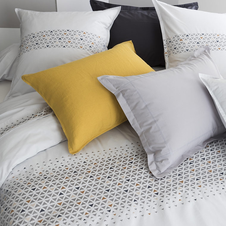 Parures de lit fantaisie en percale linge de lit carre blanc - Linge de lit carre blanc ...