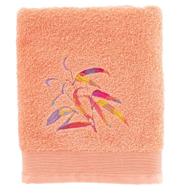 Drap de bain coton brodé végétal Asphodel corail
