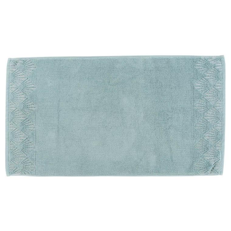 tapis de bain augusta vert de gris carre blanc - Tapis De Bain