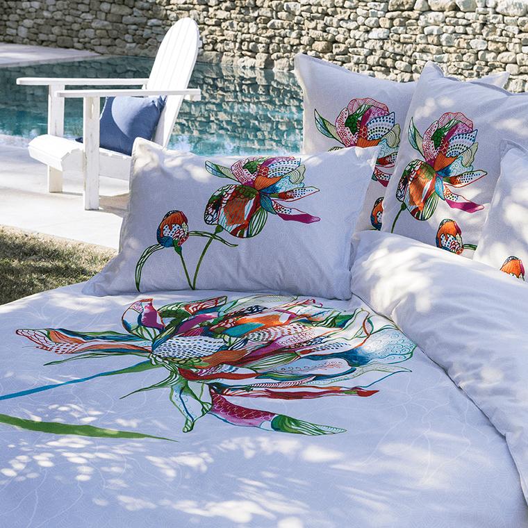 Parure de lit ayana parures de lit fantaisie carre blanc - Housse couette fantaisie ...