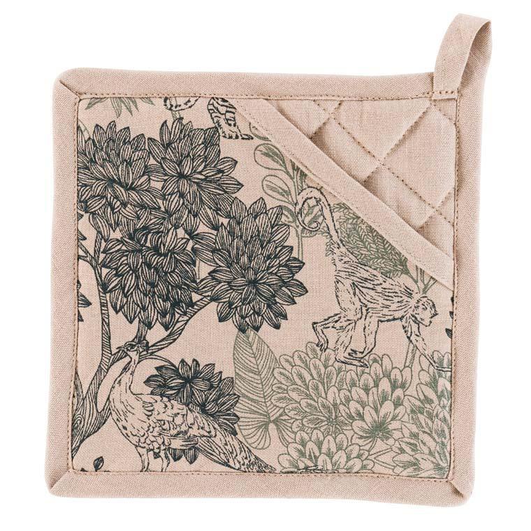 Manique lin et coton imprimé tropical Bengali grège taupe