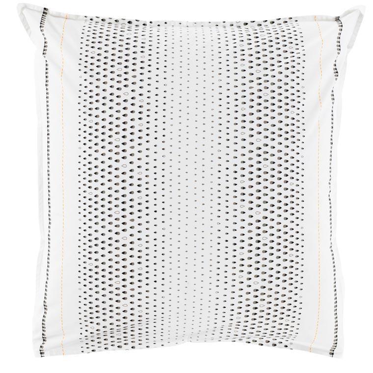 Taie d'oreiller carrée percale de coton imprimé motif goutte Brume