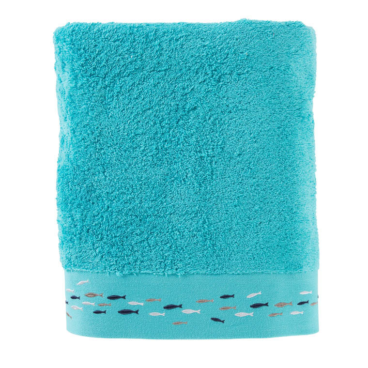 drap de bain calypso turquoise carre blanc. Black Bedroom Furniture Sets. Home Design Ideas