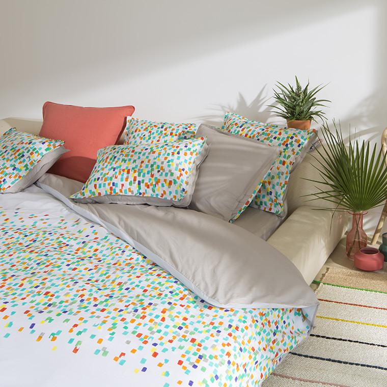 parure de lit carre blanc hoze home. Black Bedroom Furniture Sets. Home Design Ideas