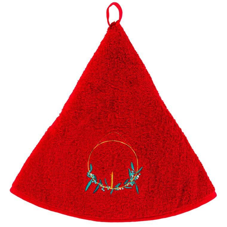 Essuie main coton Chalet rouge