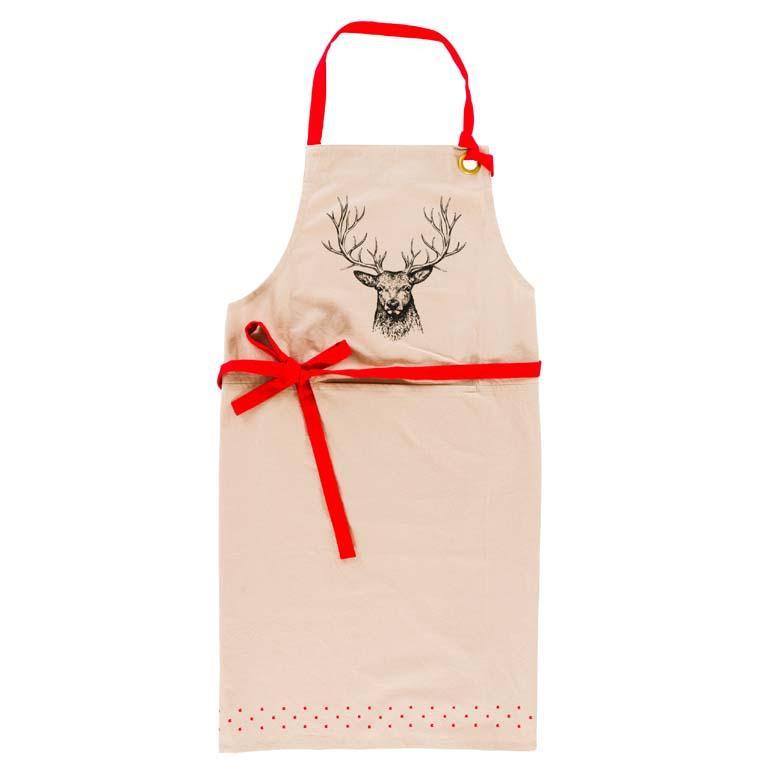 Tablier de cuisine coton imprimé cerf Chalet grège