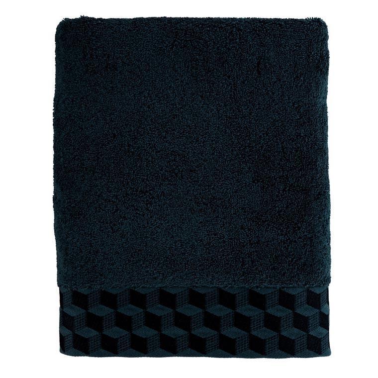 Drap de bain coton brodé Cubes bleu nuit