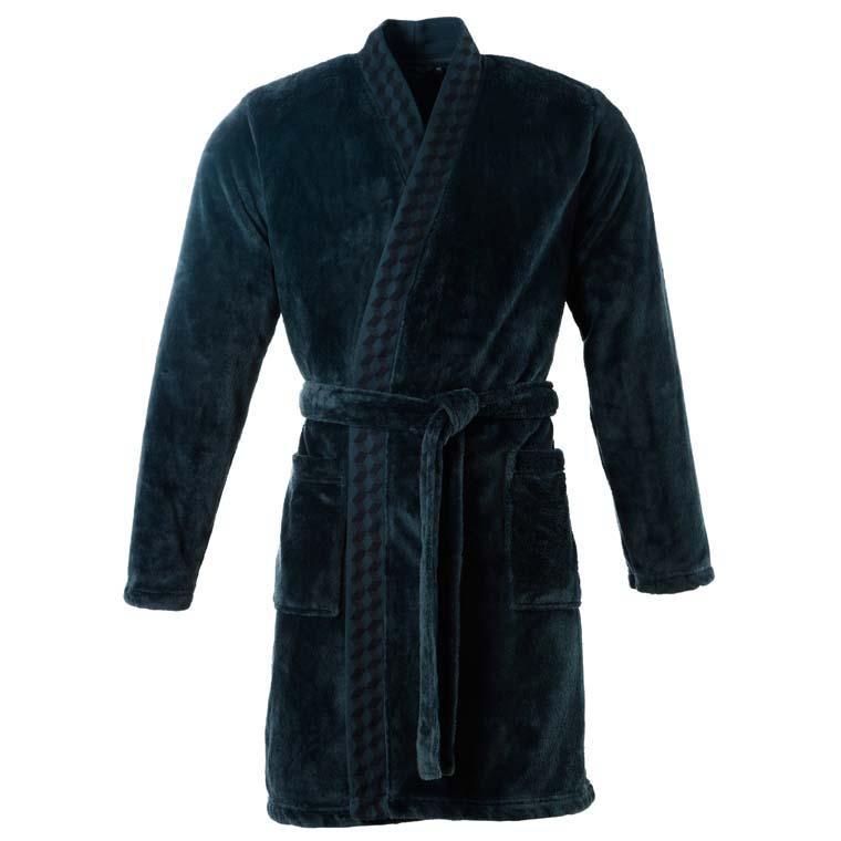 Veste polaire homme kimono Cubes bleu nuit