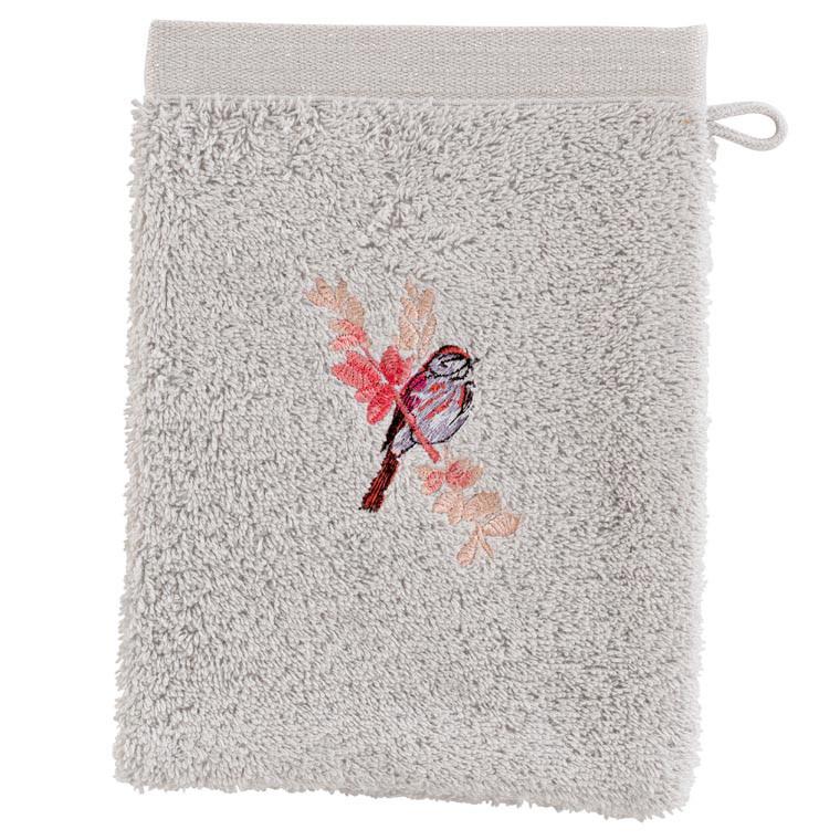 Gant de toilette coton brodé végétal CYBELE PERLE