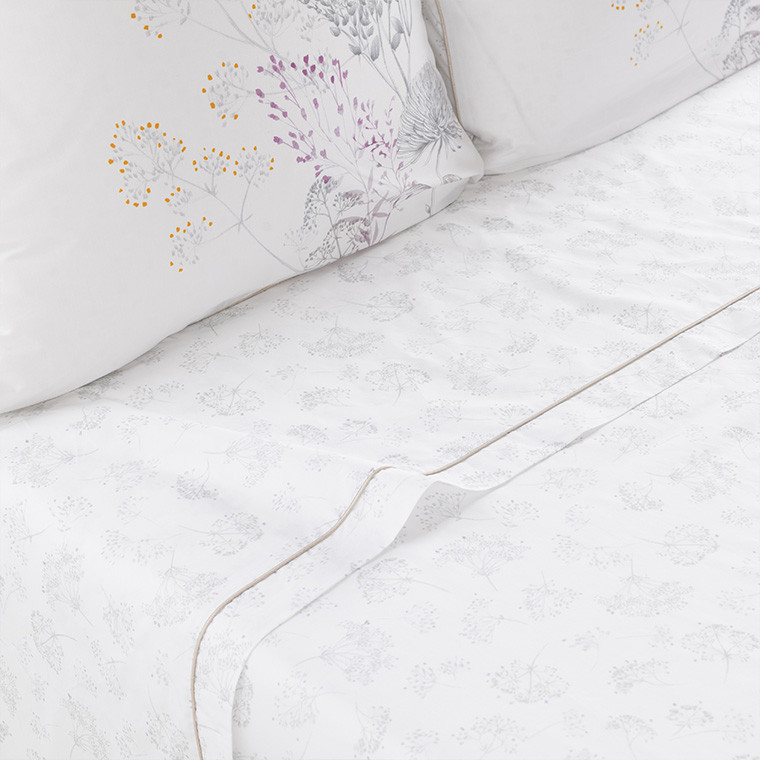 Drap de lit percale de coton fleur CYBELE
