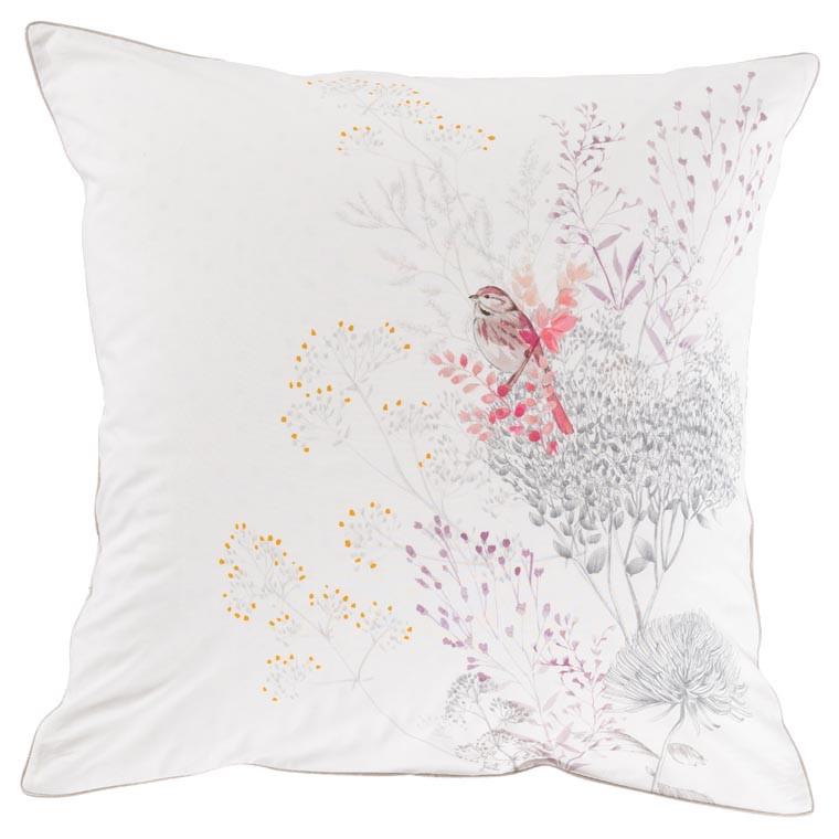 Taie d'oreiller carré percale de coton fleur CYBELE