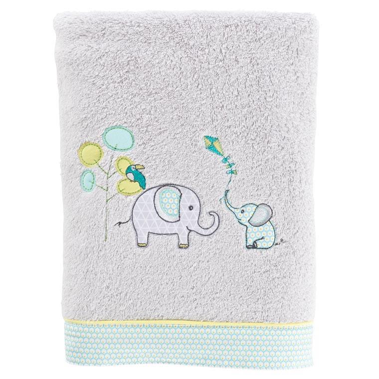 Drap de bain coton brodé éléphant CYPRIEN perle