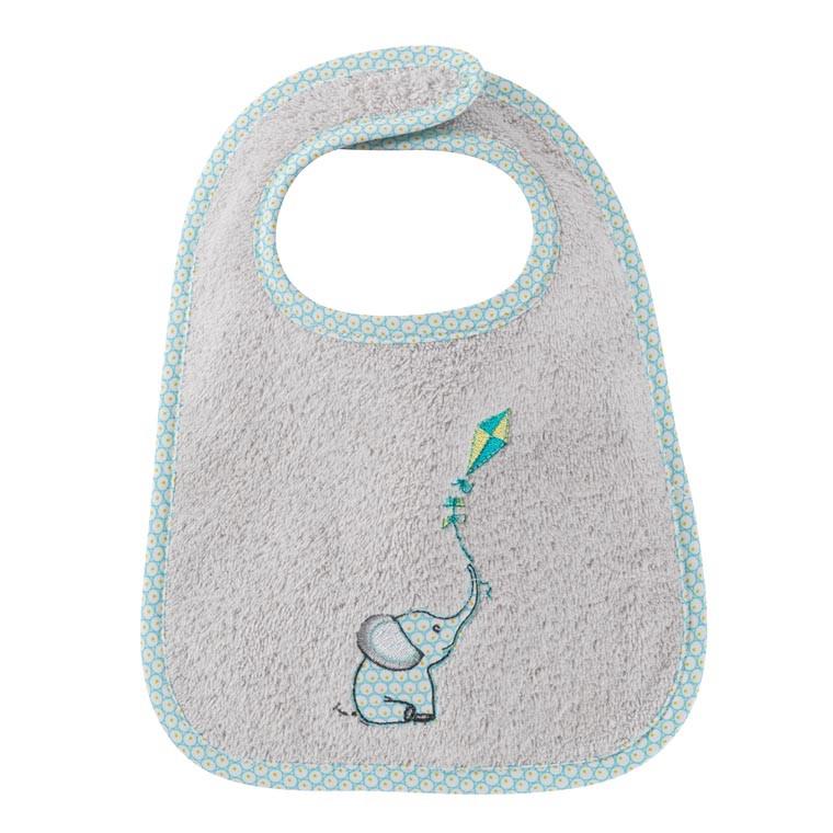 Mini bavoir coton brodé éléphant CYPRIEN perle