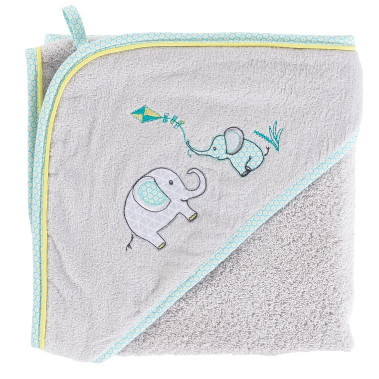 Cape de bain coton brodé éléphant CYPRIEN perle
