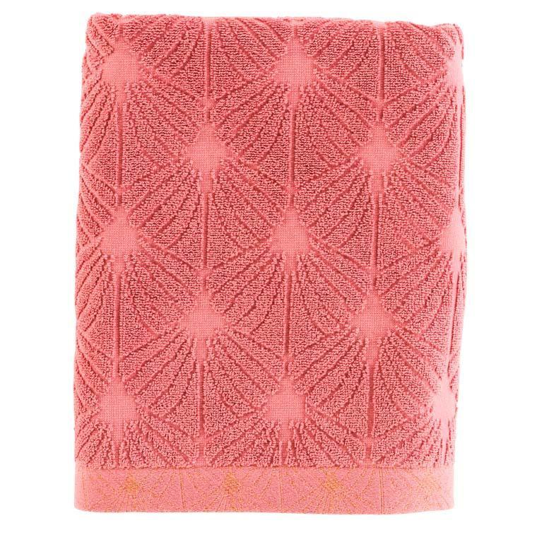 Drap de bain coton ciselé Divine bois de rose