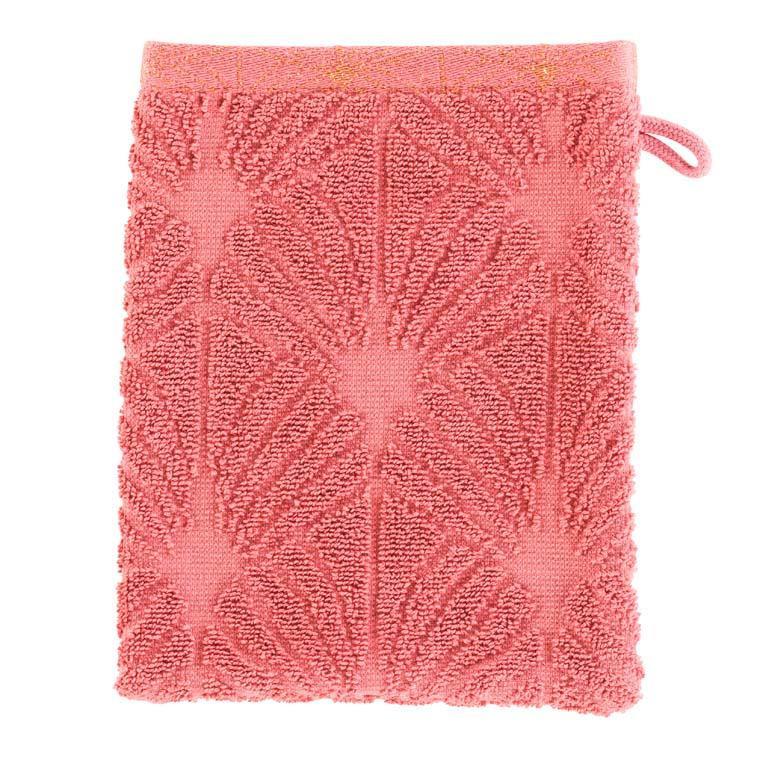 Gant de toilette coton ciselé Divine bois de rose