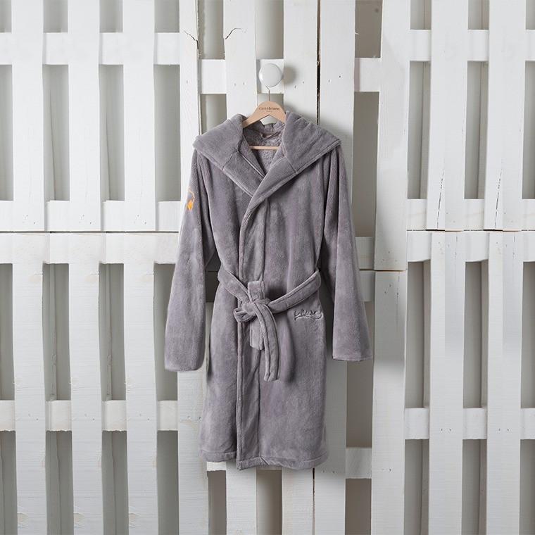 Robe De Chambre Ado Electro Gris Carre Blanc