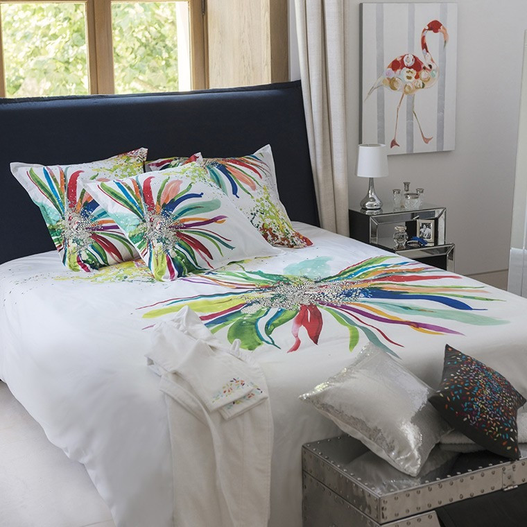 housse de couette percale blanc motif floral imprim multicolore. Black Bedroom Furniture Sets. Home Design Ideas