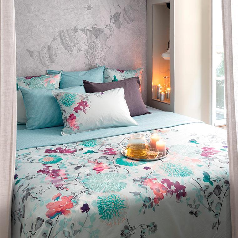 Housse de couette percale de coton imprimé floral Givre classique chic