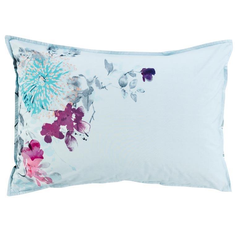 Taie d'oreiller rectangulaire percale de coton imprimé floral Givre