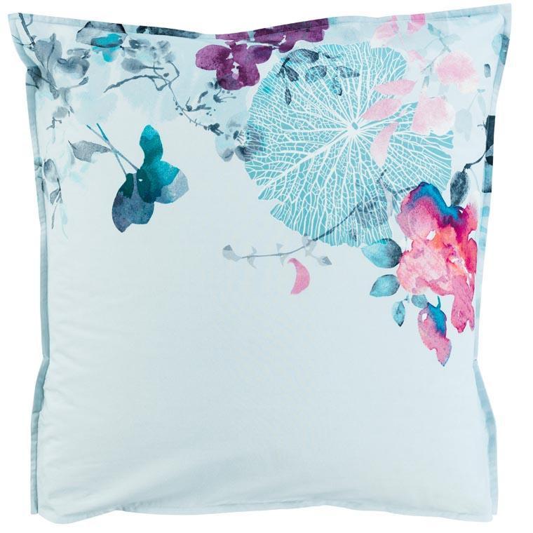 Taie d'oreiller carré percale de coton imprimé floral Givre