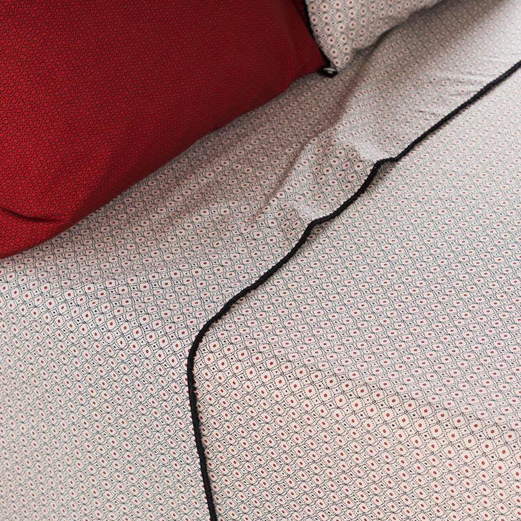 Drap de lit pur coton lavé imprimé ethnique Handira