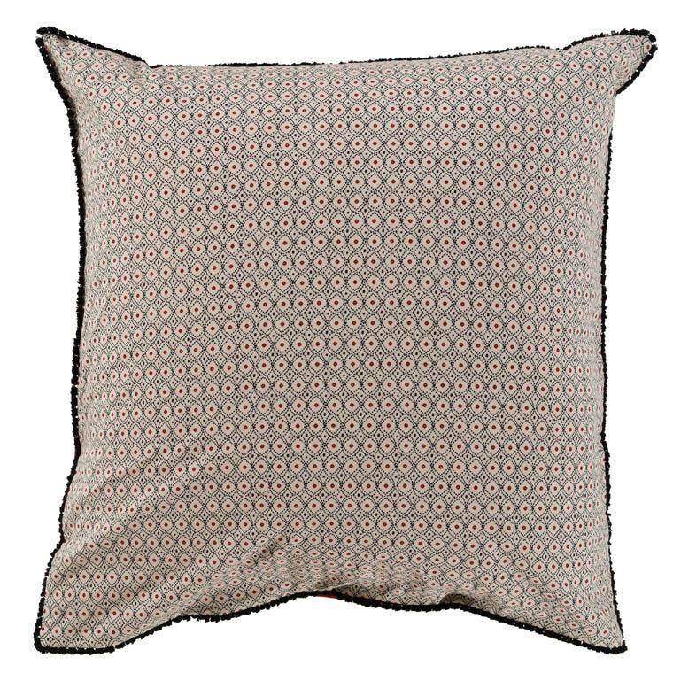 Taie d'oreiller carrée pur coton lavé imprimée ethnique Handira