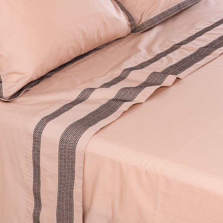 Drap de lit percale de coton brodé Havane