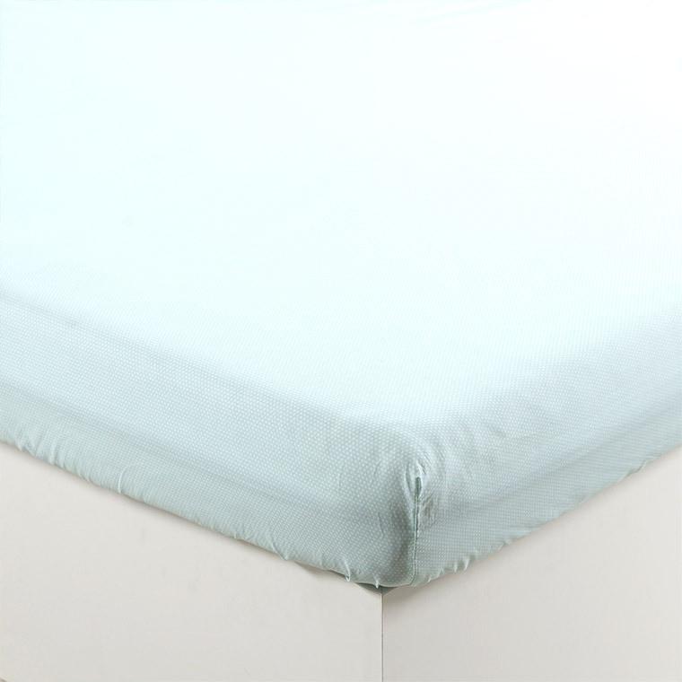Drap housse percale de coton hexagone turquoise HOLI