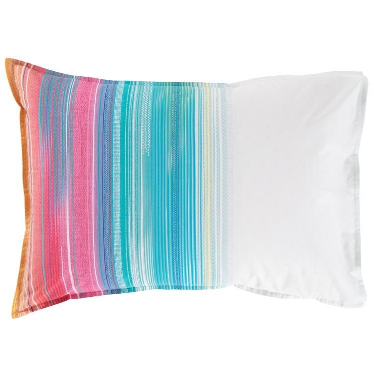 Taie d'oreiller rectangulaire percale de coton rayures multicolores Holi