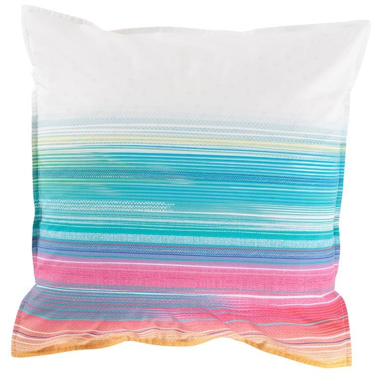 Taie d'oreiller carré percale de coton rayures multicolores HOLI