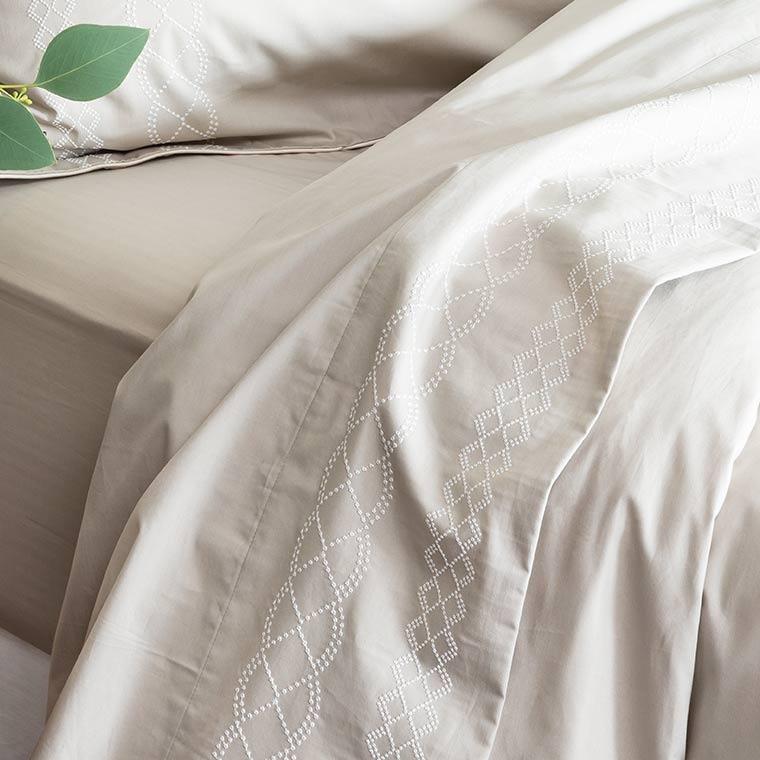 Drap de lit percale de coton brodé HONOREE