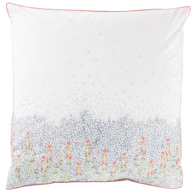 Taie d'oreiller carré percale de coton imprimé floral Idylle safran