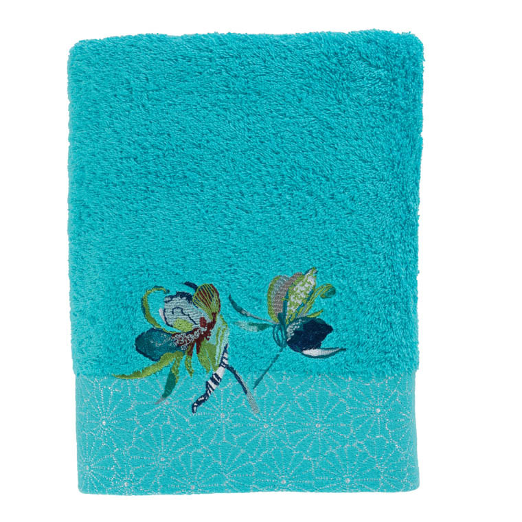 drap de douche iloha turquoise carre blanc. Black Bedroom Furniture Sets. Home Design Ideas