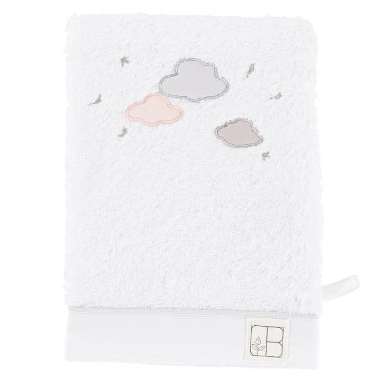 Gant de toilette bouclette de coton biologique brodé nuages Imagine blanc