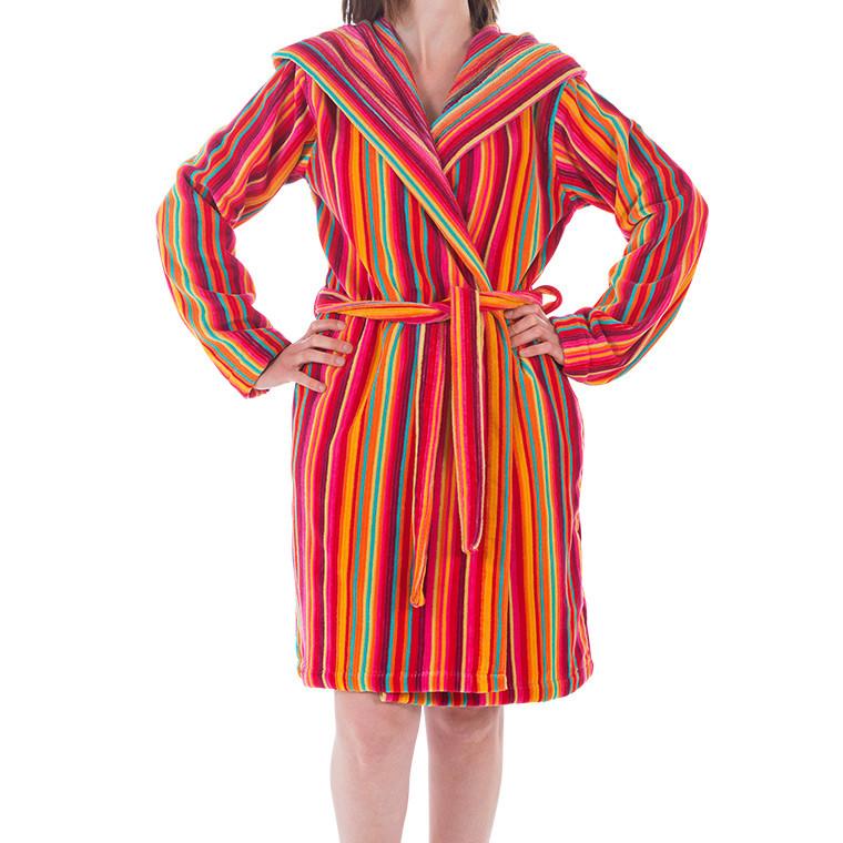 peignoir femme velours de coton jacquard rayures multicolores. Black Bedroom Furniture Sets. Home Design Ideas
